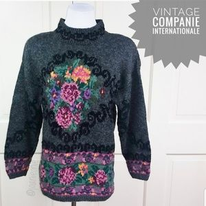 * VINTAGE Oversized Slouchy Floral Sweater Size S